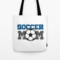 soccer Tote Bags featuring soccer mom by Tassara