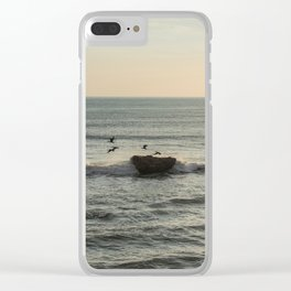 Sunset Sicily birds Clear iPhone Case
