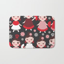 Seamless pattern spanish Woman flamenco dancer. Kawaii cute face with pink cheeks and winking eyes. Bath Mat
