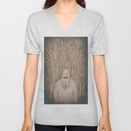 Sasquatch in the woods Unisex V-Neck