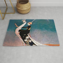 Art Deco White Peacock and Flapper Vintage Art Rug