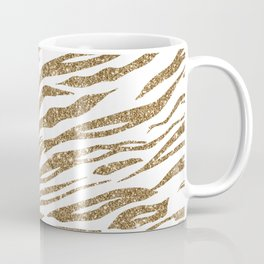 White & Glitter Animal Print Pattern Coffee Mug