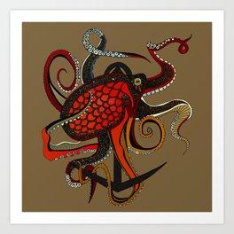 octopus ink umber Art Print