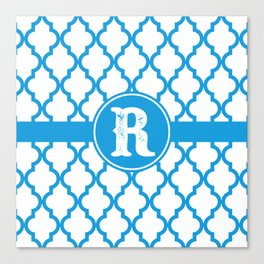 Blue Monogram: Letter R Canvas Print