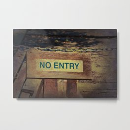 No Entry sign hanging on a chain Metal Print