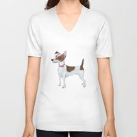 jack russell V-neck T-shirts featuring Jack Russell Terrier by Cathy Brear