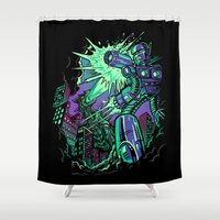 pacific rim Shower Curtains featuring Pacific Retro by Don Lim
