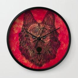 The Chosen Lone Henna Wolf Wall Clock
