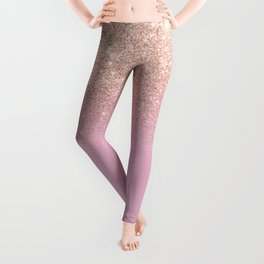 Rose gold glitter ombre on sweet lilac Leggings