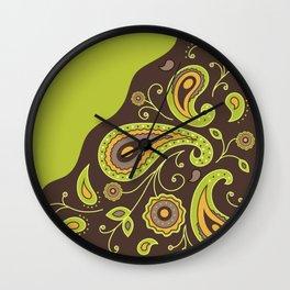 Paisley Green Pattern Wall Clock