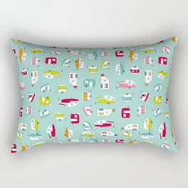 Multicolour Campers on aqua Rectangular Pillow