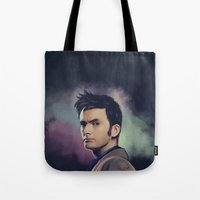 david tennant Tote Bags featuring David Tennant - Doctor Who by KanaHyde
