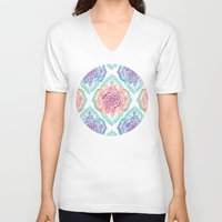 indian V-neck T-shirts featuring Indian Ink - Rainbow version by micklyn