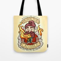 bible Tote Bags featuring Burn The Lad Bible by Roseanna Hanson