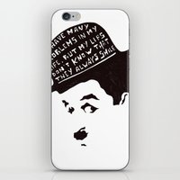 chaplin iPhone & iPod Skins featuring Charlie Chaplin by Ilariabp.art