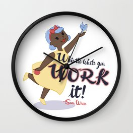 Snow White Works it Wall Clock