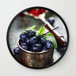 blueberries and red currant berries Wall Clock