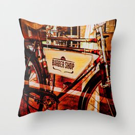 Barber shop vintage photograph of an antique bicycle Throw Pillow