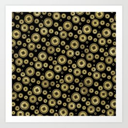 Chinese Coin Pattern Gold on Black Art Print