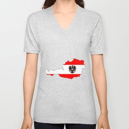 Austrian Flag and Map Unisex V-Neck