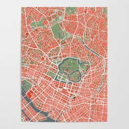 Tokyo city map classic Poster