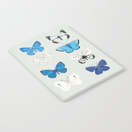 Lepitoptery No. 2 - Blue and White Butterflies and Moths Notebook