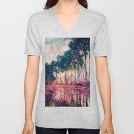 Monet Poplars Deep Pastels Unisex V-Neck