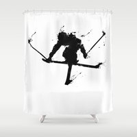 ski Shower Curtains featuring Ski jumper  by Richard Eijkenbroek