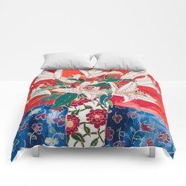 Blush Lily Bouquet on Orange Comforters