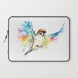 Colorful Sparrow Watercolor Painting Laptop Sleeve