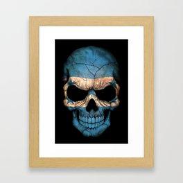Dark Skull with Flag of Honduras Framed Art Print