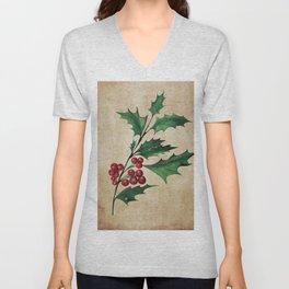 Vintage Holly Branch - Christmas Holiday Unisex V-Neck