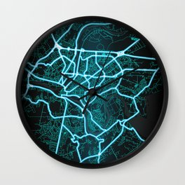 Kaunas, Lithuania, Blue, White, Neon, Glow, City, Map Wall Clock