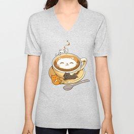Latte Cat Unisex V-Neck
