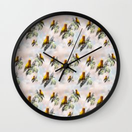 Sun Parrots looking at you Wall Clock