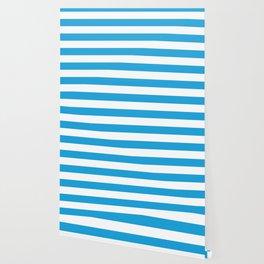 Oktoberfest Bavarian Blue and White Large Cabana Stripes Wallpaper