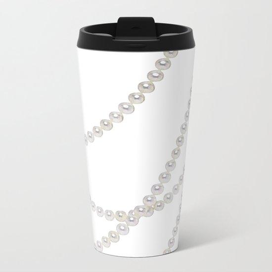 White Pearls Metal Travel Mug