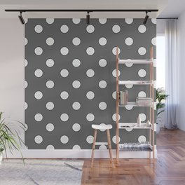 Grey Pastel Polka Dots Wall Mural