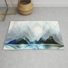 Mountain#1: a minimal, abstract of Milford Sound in New Zealand mixed media painting Rug