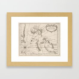 Vintage Map of The Bahamas (1764) Framed Art Print