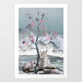 White Tiger And Plum Tree Art Print