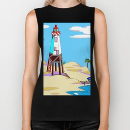 A Lighthouse on the Beach with Palm Trees Biker Tank