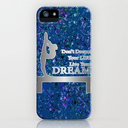 Gymnastics Live Your Dream-Silver and Navy Digital Design iPhone Case