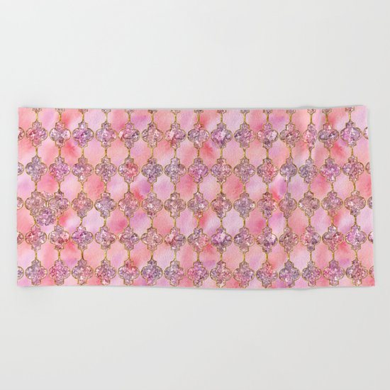 Luxury Gold and Pink Glitter effect oriental pattern on #Society6 Beach Towel
