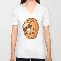 cookie V-neck T-shirts featuring Puglie Cookie by Puglie Pug