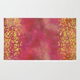 Golden Sparkles on Red Rug