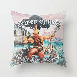 Squad Up With Sewer Throw Pillow