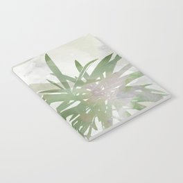 Olive Green Palm Leaves Watercolor Painting Notebook