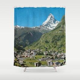 Retro Swiss travel Zermatt and Mount Matterhorn  Shower Curtain