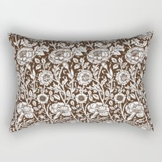 "William Morris Floral Pattern | ""Pink and Rose"" in Chocolate Brown and White Rectangular Pillow"